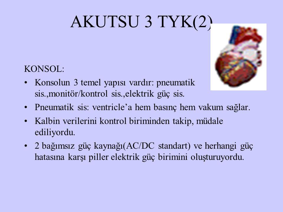 AKUTSU 3 TYK(2) KONSOL: Konsolun 3 temel yapısı vardır: pneumatik sis.,monitör/kontrol sis.,elektrik güç sis. Pneumatik sis: ventricle'a hem basınç he