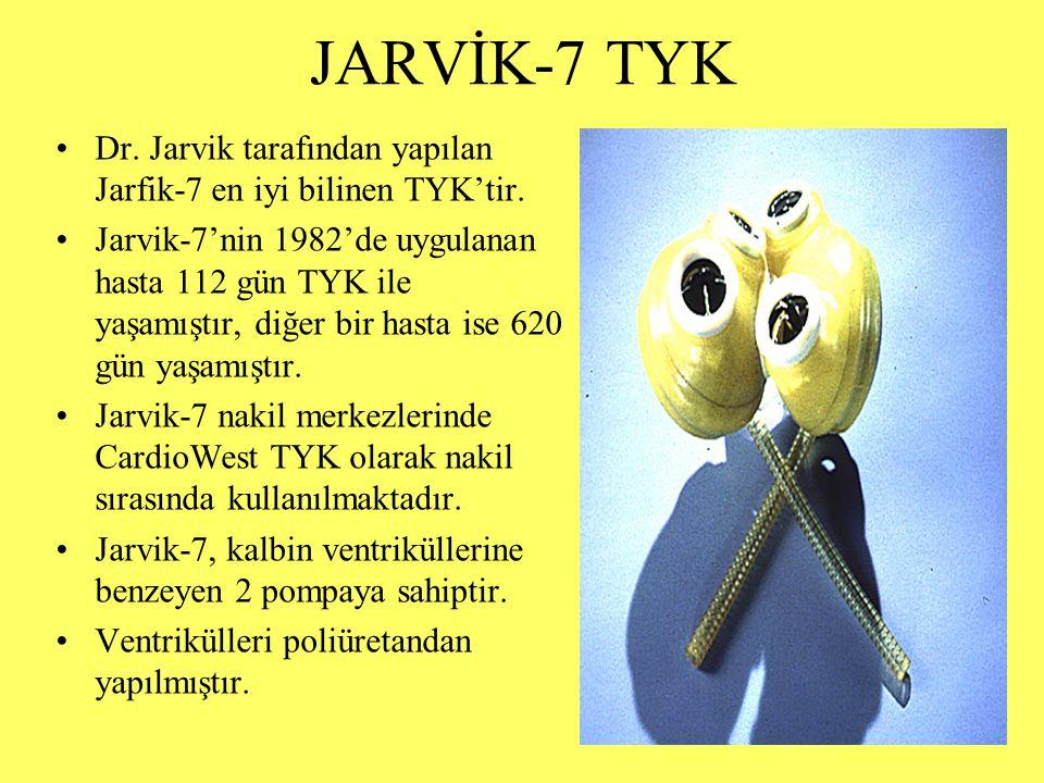 JARVİK-7 TYK Dr. Jarvik tarafından yapılan Jarfik-7 en iyi bilinen TYK'tir. Jarvik-7'nin 1982'de uygulanan hasta 112 gün TYK ile yaşamıştır, diğer bir