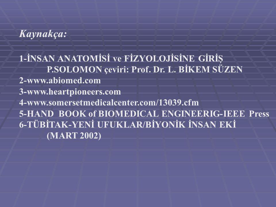 Kaynakça: 1-İNSAN ANATOMİSİ ve FİZYOLOJİSİNE GİRİŞ P.SOLOMON çeviri: Prof. Dr. L. BİKEM SÜZEN 2-www.abiomed.com 3-www.heartpioneers.com 4-www.somerset