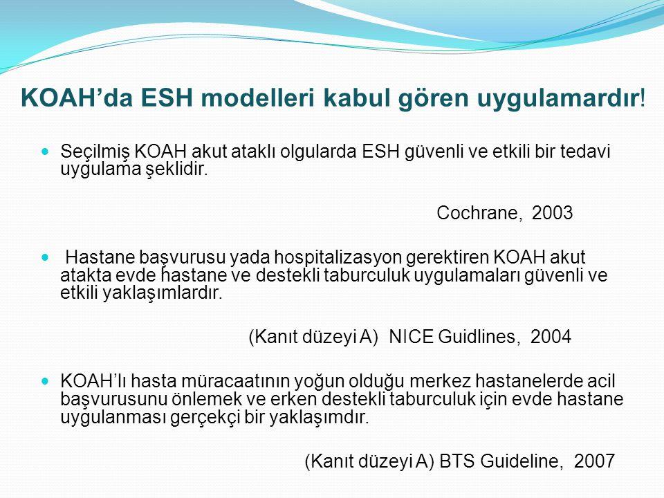 KOAH'da ESH modelleri kabul gören uygulamardır! Seçilmiş KOAH akut ataklı olgularda ESH güvenli ve etkili bir tedavi uygulama şeklidir. Cochrane, 2003