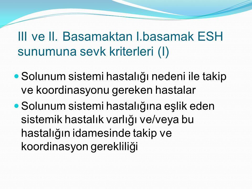 III ve II. Basamaktan I.basamak ESH sunumuna sevk kriterleri (I) Solunum sistemi hastalığı nedeni ile takip ve koordinasyonu gereken hastalar Solunum