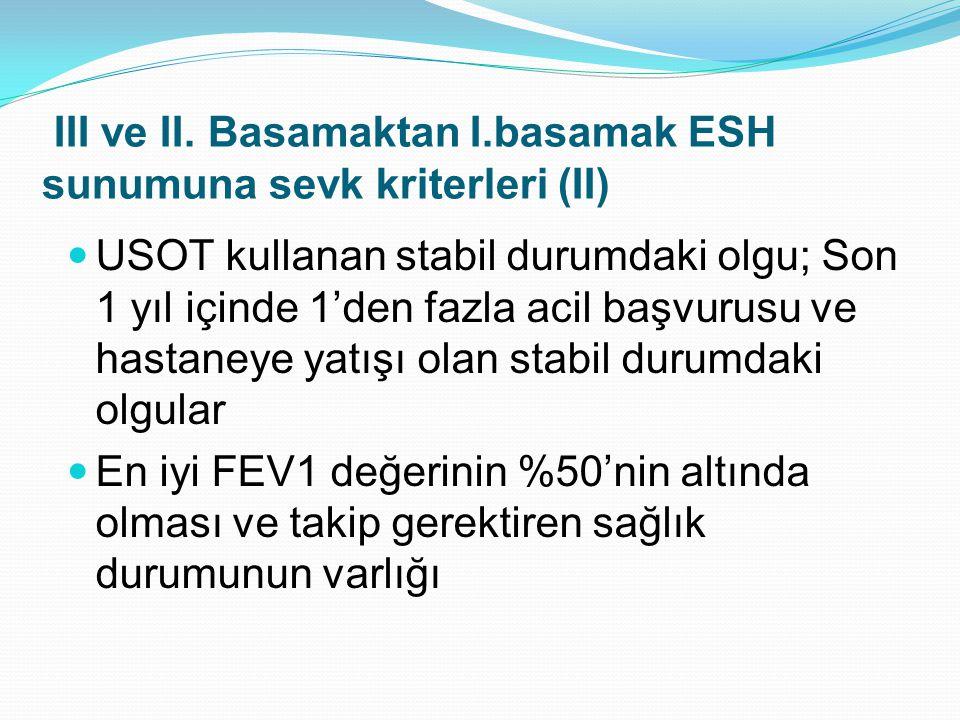 USOT kullanan stabil durumdaki olgu; Son 1 yıl içinde 1'den fazla acil başvurusu ve hastaneye yatışı olan stabil durumdaki olgular En iyi FEV1 değerinin %50'nin altında olması ve takip gerektiren sağlık durumunun varlığı III ve II.