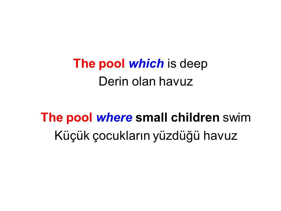 The pool which is deep Derin olan havuz The pool where small children swim Küçük çocukların yüzdüğü havuz