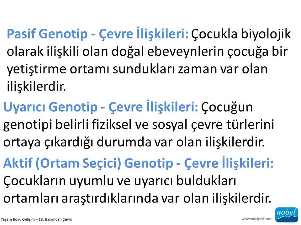 Pasif Genotip - Çevre İlişkileri: Çocukla biyolojik olarak ilişkili olan doğal ebeveynlerin çocuğa bir yetiştirme ortamı sundukları zaman var olan ili