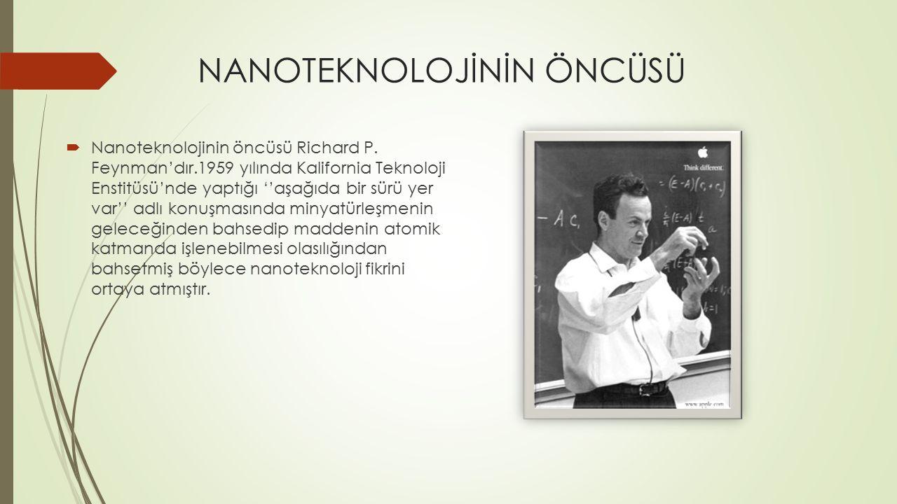 NANOTEKNOLOJİNİN ÖNCÜSÜ  Nanoteknolojinin öncüsü Richard P.