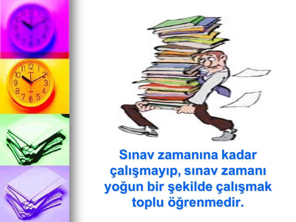 Sınav zamanına kadar çalışmayıp, sınav zamanı yoğun bir şekilde çalışmak toplu öğrenmedir. Sınav zamanına kadar çalışmayıp, sınav zamanı yoğun bir şek