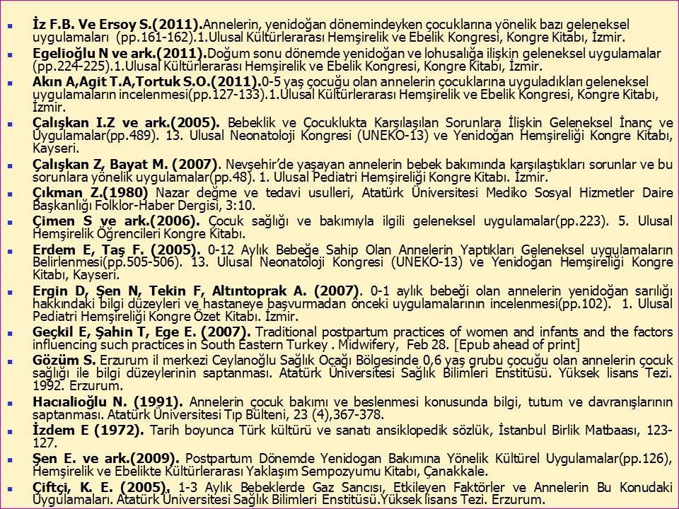 55 İz F.B. Ve Ersoy S.(2011).Annelerin, yenidoğan dönemindeyken çocuklarına yönelik bazı geleneksel uygulamaları (pp.161-162).1.Ulusal Kültürlerarası
