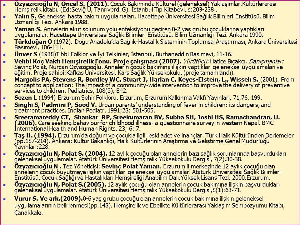 56 Özyazıcıoğlu N, Öncel S. (2011). Çocuk Bakımında Kültürel (geleneksel) Yaklaşımlar.Kültürlerarası Hemşirelik kitabı. (Ed:Seviğ Ü, Tanrıverdi G). İs