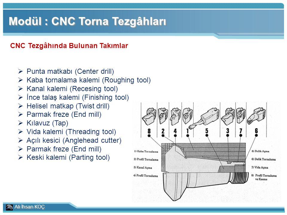 Ali İhsan KOÇ Modül : CNC Torna Tezgâhları CNC Tezgâhında Bulunan Takımlar  Punta matkabı (Center drill)  Kaba tornalama kalemi (Roughing tool)  Ka