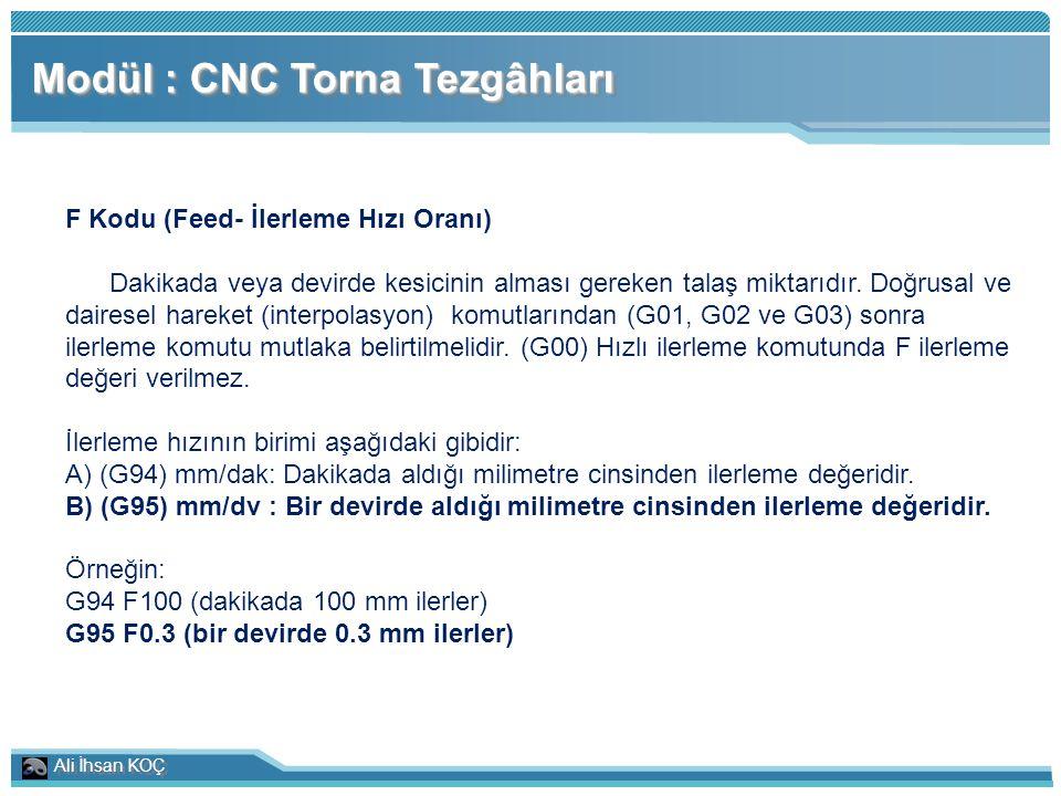 Ali İhsan KOÇ Modül : CNC Torna Tezgâhları F Kodu (Feed- İlerleme Hızı Oranı) Dakikada veya devirde kesicinin alması gereken talaş miktarıdır. Doğrusa