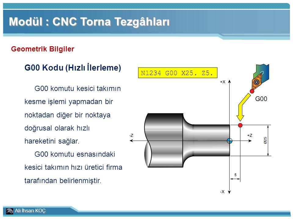 Ali İhsan KOÇ Modül : CNC Torna Tezgâhları Geometrik Bilgiler G00 Kodu (Hızlı İlerleme) G00 komutu kesici takımın kesme işlemi yapmadan bir noktadan d