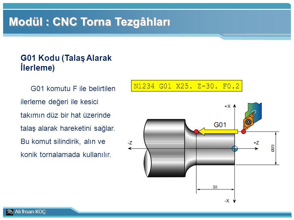 Ali İhsan KOÇ Modül : CNC Torna Tezgâhları G01 Kodu (Talaş Alarak İlerleme) G01 komutu F ile belirtilen ilerleme değeri ile kesici takımın düz bir hat
