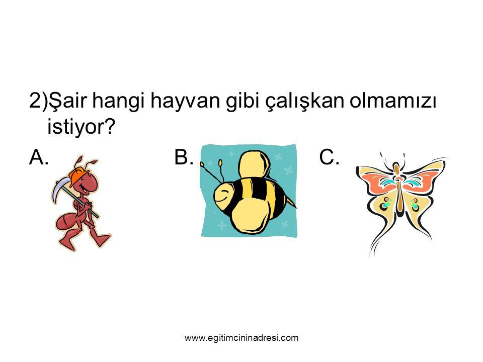 2)Şair hangi hayvan gibi çalışkan olmamızı istiyor? A.B.C. www.egitimcininadresi.com