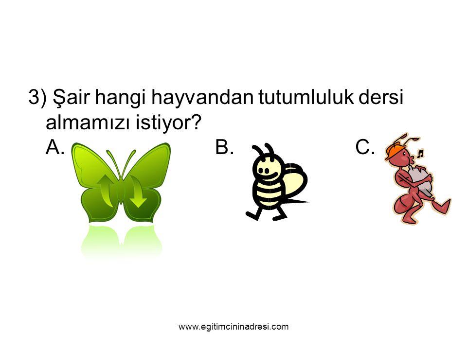 3) Şair hangi hayvandan tutumluluk dersi almamızı istiyor? A.B.C. www.egitimcininadresi.com