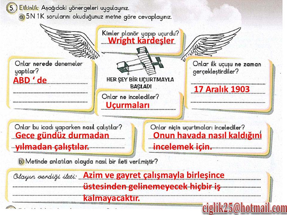 Wright kardeşler 17 Aralık 1903 Uçurmaları ABD ' de Gece gündüz durmadan yılmadan çalıştılar.