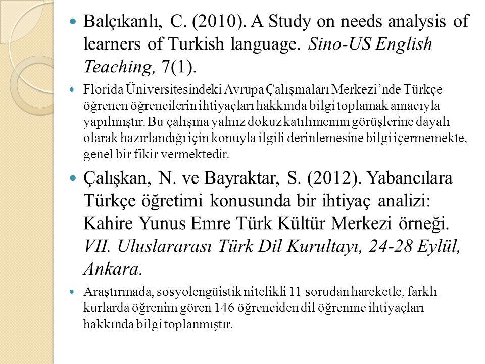Balçıkanlı, C. (2010). A Study on needs analysis of learners of Turkish language. Sino-US English Teaching, 7(1). Florida Üniversitesindeki Avrupa Çal