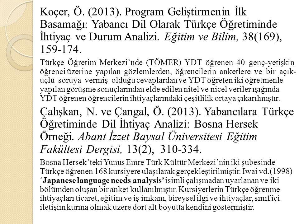 Koçer, Ö. (2013). Program Geliştirmenin İlk Basamağı: Yabancı Dil Olarak Türkçe Öğretiminde İhtiyaç ve Durum Analizi. Eğitim ve Bilim, 38(169), 159-17