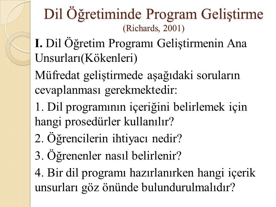 Dil Öğretiminde Program Geliştirme (Richards, 2001) I. Dil Öğretim Programı Geliştirmenin Ana Unsurları(Kökenleri) Müfredat geliştirmede aşağıdaki sor
