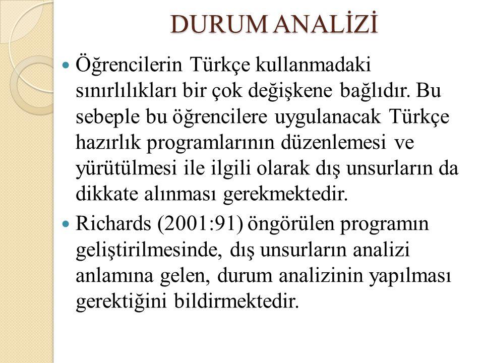 DURUM ANALİZİ Öğrencilerin Türkçe kullanmadaki sınırlılıkları bir çok değişkene bağlıdır. Bu sebeple bu öğrencilere uygulanacak Türkçe hazırlık progra
