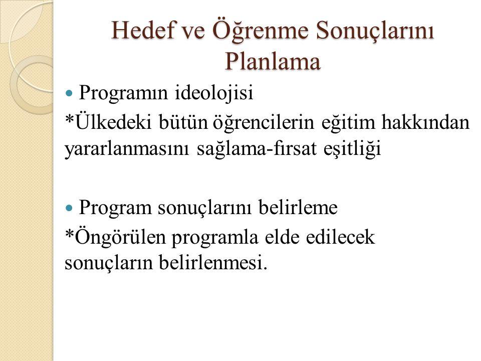 Hedef ve Öğrenme Sonuçlarını Planlama Programın ideolojisi *Ülkedeki bütün öğrencilerin eğitim hakkından yararlanmasını sağlama-fırsat eşitliği Progra