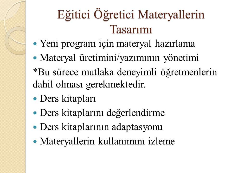 Eğitici Öğretici Materyallerin Tasarımı Yeni program için materyal hazırlama Materyal üretimini/yazımının yönetimi *Bu sürece mutlaka deneyimli öğretm