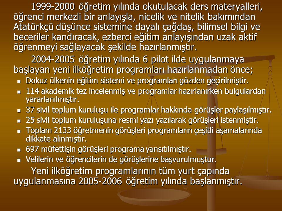1999-2000 öğretim yılında okutulacak ders materyalleri, öğrenci merkezli bir anlayışla, nicelik ve nitelik bakımından Atatürkçü düşünce sistemine daya