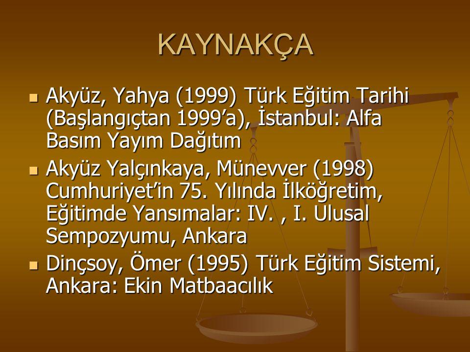 KAYNAKÇA Akyüz, Yahya (1999) Türk Eğitim Tarihi (Başlangıçtan 1999'a), İstanbul: Alfa Basım Yayım Dağıtım Akyüz, Yahya (1999) Türk Eğitim Tarihi (Başl