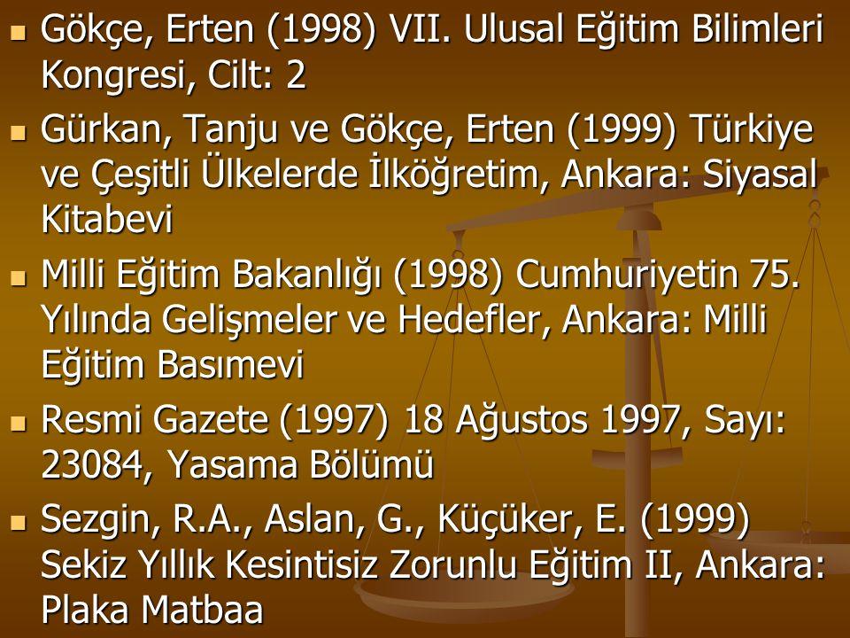 Gökçe, Erten (1998) VII. Ulusal Eğitim Bilimleri Kongresi, Cilt: 2 Gökçe, Erten (1998) VII. Ulusal Eğitim Bilimleri Kongresi, Cilt: 2 Gürkan, Tanju ve
