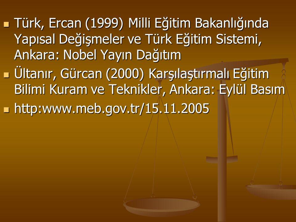 Türk, Ercan (1999) Milli Eğitim Bakanlığında Yapısal Değişmeler ve Türk Eğitim Sistemi, Ankara: Nobel Yayın Dağıtım Türk, Ercan (1999) Milli Eğitim Ba