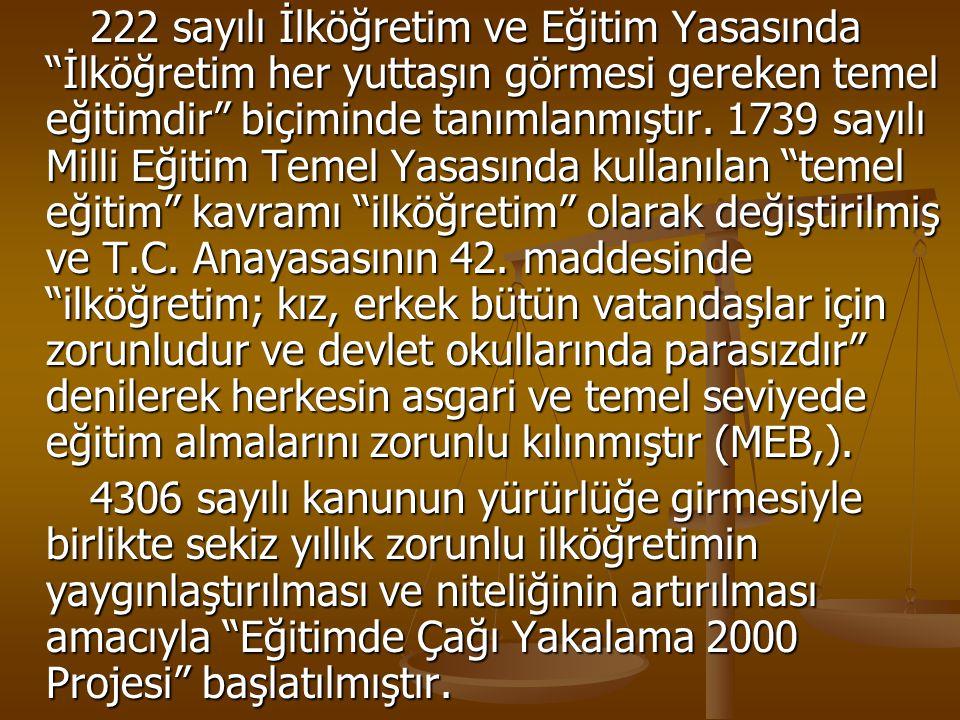 """222 sayılı İlköğretim ve Eğitim Yasasında """"İlköğretim her yuttaşın görmesi gereken temel eğitimdir"""" biçiminde tanımlanmıştır. 1739 sayılı Milli Eğitim"""