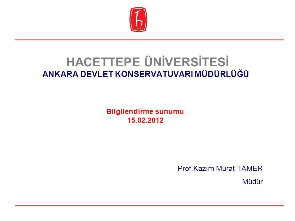 HACETTEPE ÜNİVERSİTESİ ANKARA DEVLET KONSERVATUVARI MÜDÜRLÜĞÜ Sayın Rektörüm, Sayın Rektör Yardımcılarımız, Senatomuzun saygıdeğer üyeleri, 15 Ocak 2012 tarihinde Rektörlüğümüzce Ankara Devlet Konservatuvarı Müdür Vekili olarak atanmış bulunmaktayım.