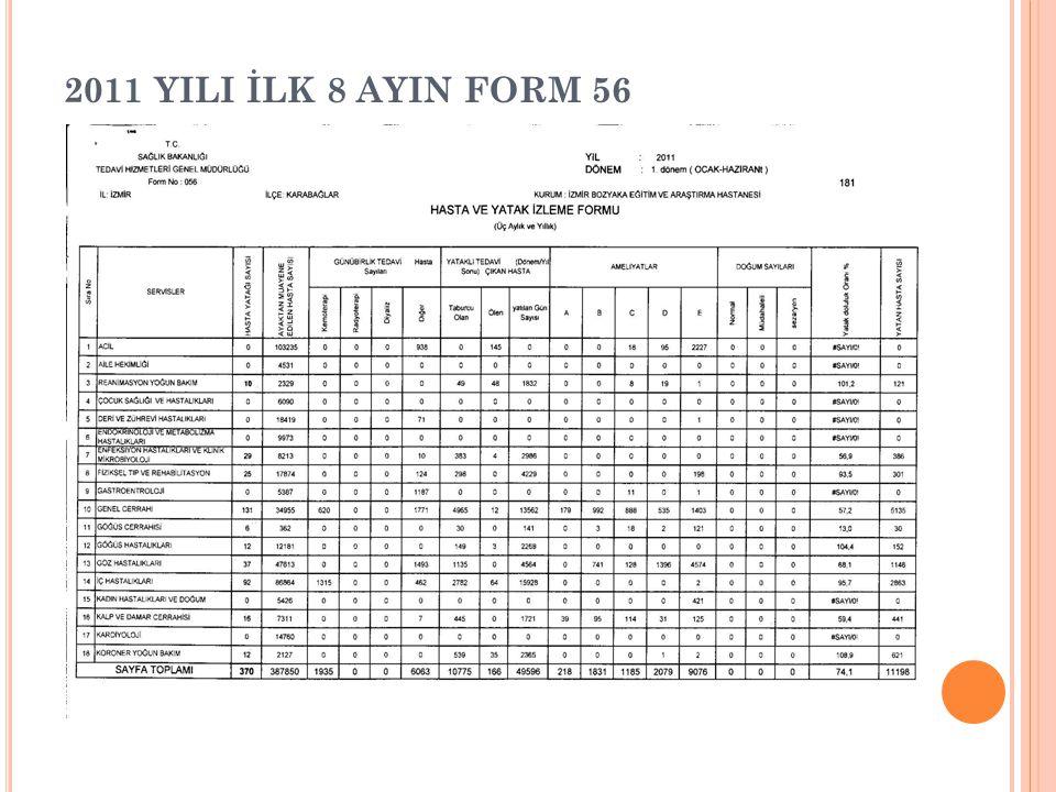 2011 YILI İLK 8 AYIN FORM 56