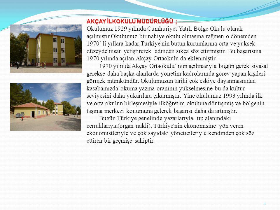 4 AKÇAY İLKOKULU MÜDÜRLÜĞÜ ; Okulumuz 1929 yılında Cumhuriyet Yatılı Bölge Okulu olarak açılmıştır.Okulumuz bir nahiye okulu olmasına rağmen o dönemde