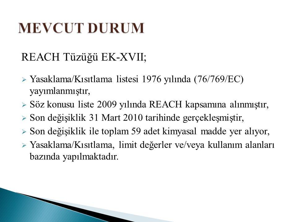 REACH Tüzüğü EK-XVII;  Yasaklama/Kısıtlama listesi 1976 yılında (76/769/EC) yayımlanmıştır,  Söz konusu liste 2009 yılında REACH kapsamına alınmıştır,  Son değişiklik 31 Mart 2010 tarihinde gerçekleşmiştir,  Son değişiklik ile toplam 59 adet kimyasal madde yer alıyor,  Yasaklama/Kısıtlama, limit değerler ve/veya kullanım alanları bazında yapılmaktadır.