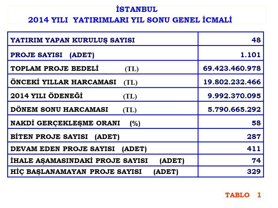 2014 YILI AYRILAN ÖDENEĞİN SEKTÖREL DAĞILIMI SEKTÖR ADI PAY (%) ULAŞTIRMA50,3 DİĞER KAMU HİZMETLERİ17,4 İÇME SUYU13,0 EĞİTİM11,9 SAĞLIK5,6 ENERJİ0,8 MADEN0,6 TARIM0,4 TOPLAM100 TABLO 2