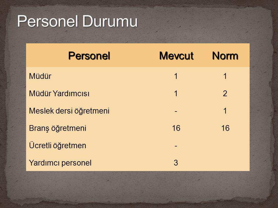 PersonelMevcutNorm Müdür11 Müdür Yardımcısı12 Meslek dersi öğretmeni-1 Branş öğretmeni16 Ücretli öğretmen- Yardımcı personel3