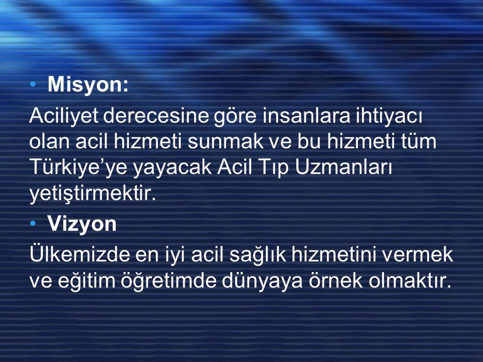 Misyon: Aciliyet derecesine göre insanlara ihtiyacı olan acil hizmeti sunmak ve bu hizmeti tüm Türkiye'ye yayacak Acil Tıp Uzmanları yetiştirmektir. V