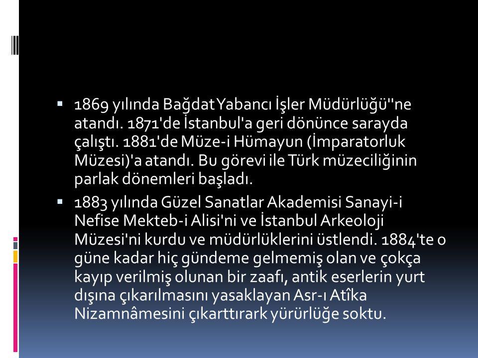  1869 yılında Bağdat Yabancı İşler Müdürlüğü''ne atandı. 1871'de İstanbul'a geri dönünce sarayda çalıştı. 1881'de Müze-i Hümayun (İmparatorluk Müzesi