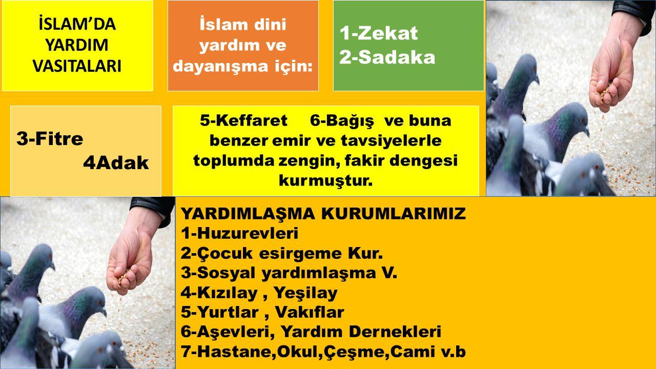 İSLAM'DA YARDIM VASITALARI İslam dini yardım ve dayanışma için: 1-Zekat 2-Sadaka 3-Fitre 4Adak 5-Keffaret 6-Bağış ve buna benzer emir ve tavsiyelerle toplumda zengin, fakir dengesi kurmuştur.