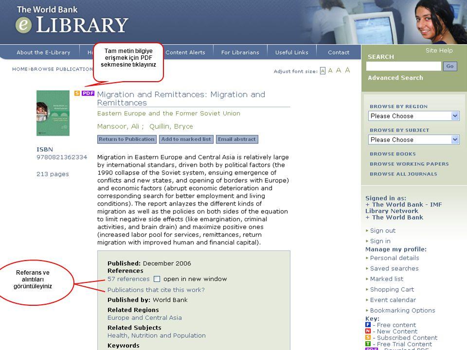 11 Search butonu kullanılarak tam metin doküman içinde arama yapılabilmektedir