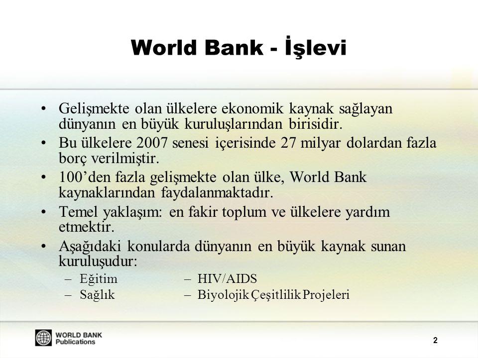 3 Bilgi Bankası World Bank faaliyetlerinin desteklenmesi ve gelişmekte olan ülkeler ile yapılan çalışmaların tanıtılması için; –Sosyal ve ekonomik gelişime ilişkin bilgileri toplar.