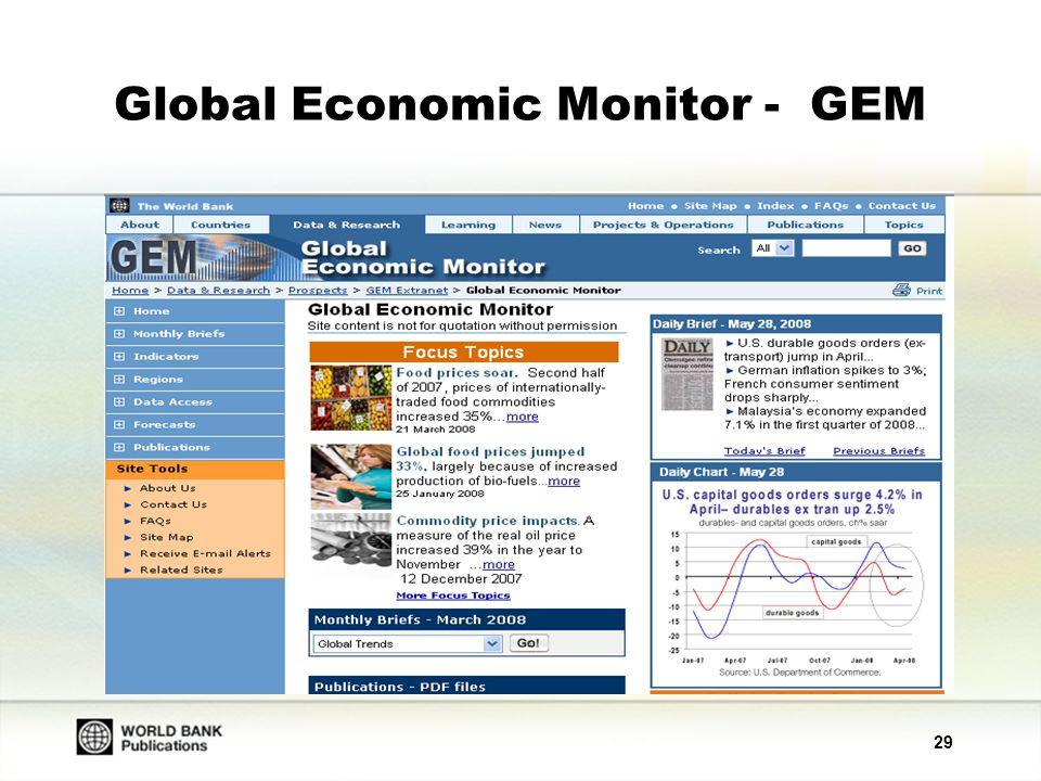 30 Global Economic Monitor - GEM Monthly Briefs (Aylık Özetler) Küresel büyüme trendleri, ticaret, finans, ileri teknoloji pazarları, ürün bilgileri, para birimlerine ilişkin global trendler, ABD, Japonya ve Euro para bölgesindeki trendler üzerine aylık bilgilerden oluşmaktadır.