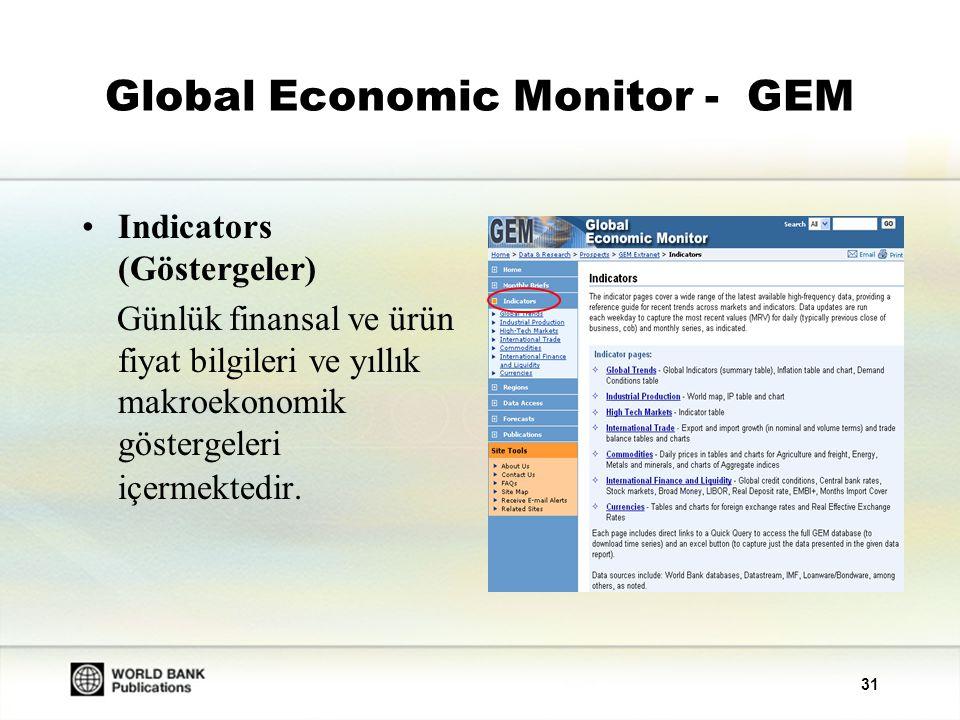 32 Global Economic Monitor - GEM Forecasts (Tahminler): 150'den fazla ülkedeki yerel ürün artışlarına ve mevcut hesap bakiyelerine ilişkin tahminleri içermektedir.