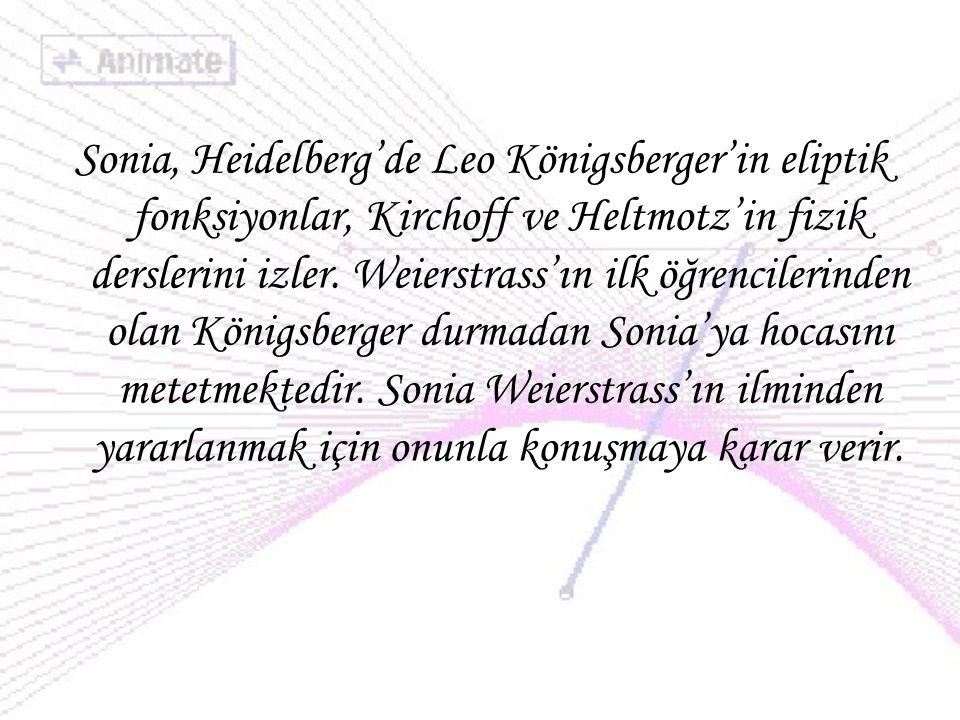Sonia, Heidelberg'de Leo Königsberger'in eliptik fonksiyonlar, Kirchoff ve Heltmotz'in fizik derslerini izler. Weierstrass'ın ilk öğrencilerinden olan