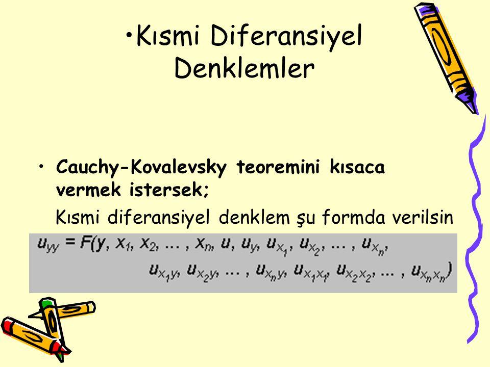 Kısmi Diferansiyel Denklemler Cauchy-Kovalevsky teoremini kısaca vermek istersek; Kısmi diferansiyel denklem şu formda verilsin