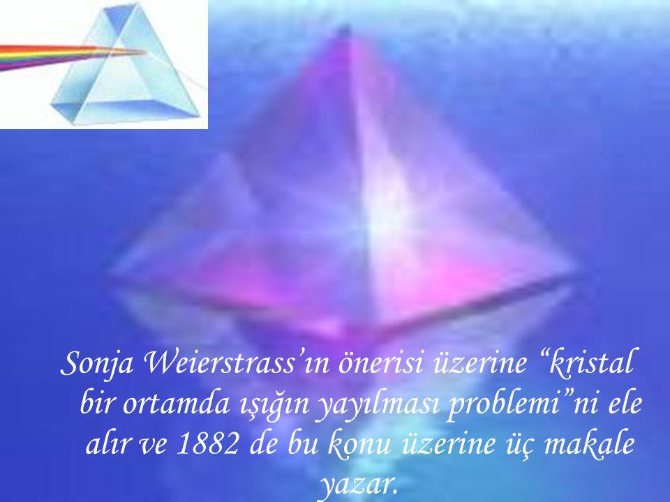 """Sonja Weierstrass'ın önerisi üzerine """"kristal bir ortamda ışığın yayılması problemi""""ni ele alır ve 1882 de bu konu üzerine üç makale yazar."""