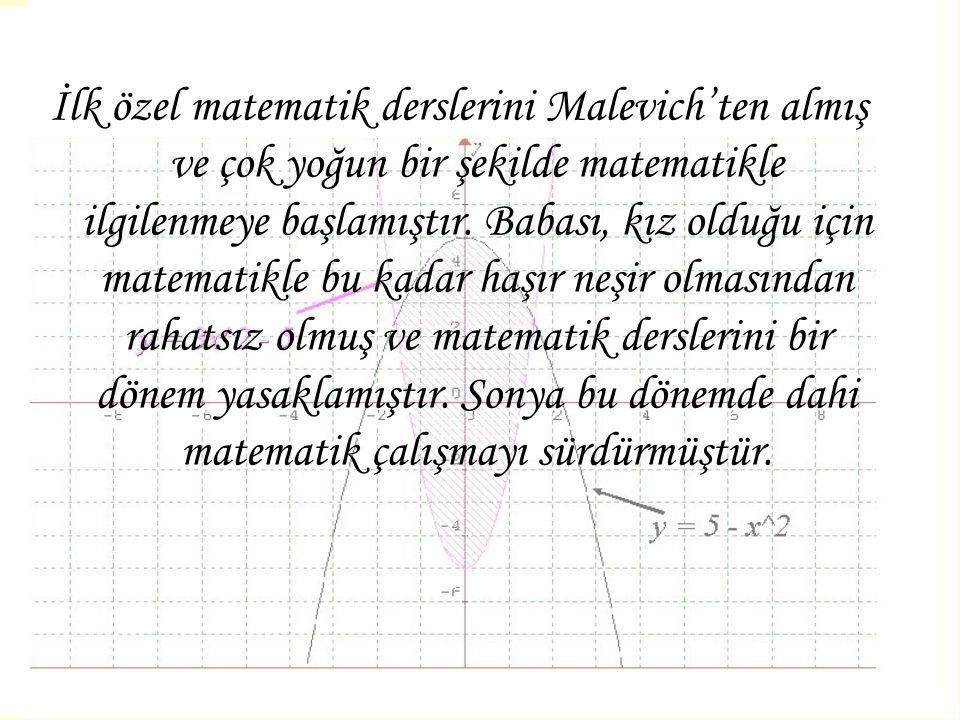 İlk özel matematik derslerini Malevich'ten almış ve çok yoğun bir şekilde matematikle ilgilenmeye başlamıştır. Babası, kız olduğu için matematikle bu