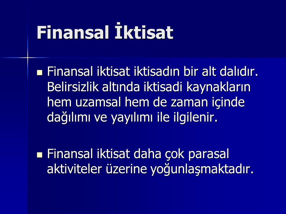 Finansal İktisat Finansal iktisat iktisadın bir alt dalıdır. Belirsizlik altında iktisadi kaynakların hem uzamsal hem de zaman içinde dağılımı ve yayı