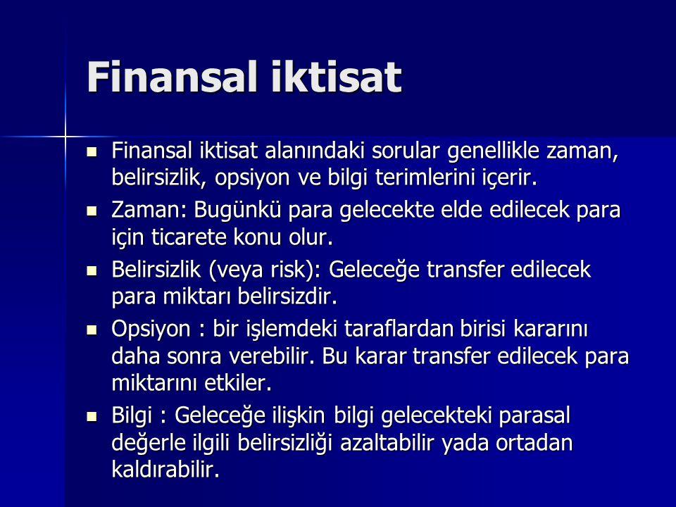 Finansal iktisat Finansal iktisat alanındaki sorular genellikle zaman, belirsizlik, opsiyon ve bilgi terimlerini içerir. Finansal iktisat alanındaki s