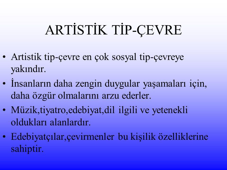 ARTİSTİK TİP-ÇEVRE Artistik tip-çevre en çok sosyal tip-çevreye yakındır.